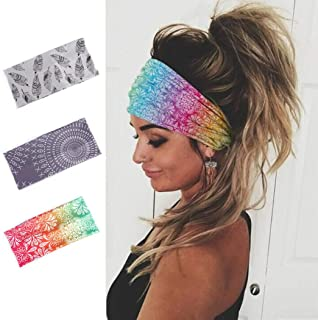 Earent Boho African Headbands Yoga Wide Knot Hair Bands Sweat Printed Headwraps Elastic Turban Headscarfs Multicolor Headw...