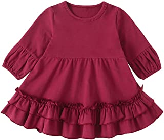 Xifamniy Infant Girls Long Sleeve Dresses Solid Color Round Neck Cotton Pleated Skirt