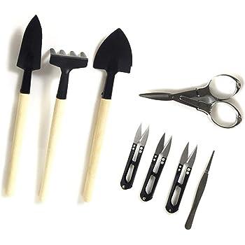 foxany Bonsai Tools Kit 8 Pcs, Succulent Garden Tools Set, Thread Snips, Fold Scissors, Tweezers, Rake & Spades Transplanting Miniature Bonsai Trimming Set for Plants Care