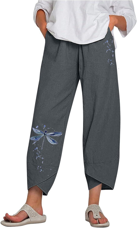 NEEKEY Cropped Pants for Womens Cotton Linen Elastic Waist Joggers Lightweight Capris Pants Trousers Vacation Beach Pants