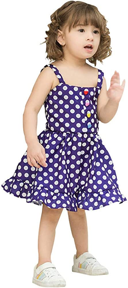 Pollyhb Casual Baby Girls Dot Condole Belt Wave Princess Dresses 6 Months-4 Years