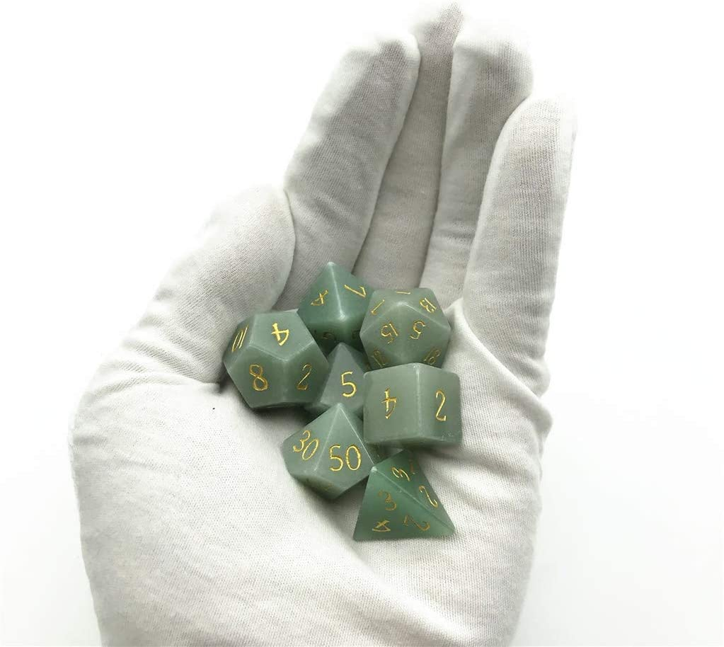 Collection Jade Dices for Dungeons /& Dragons Amatolo Handmade Natural Gemstone Dice Set B16 Blue Vein Stone