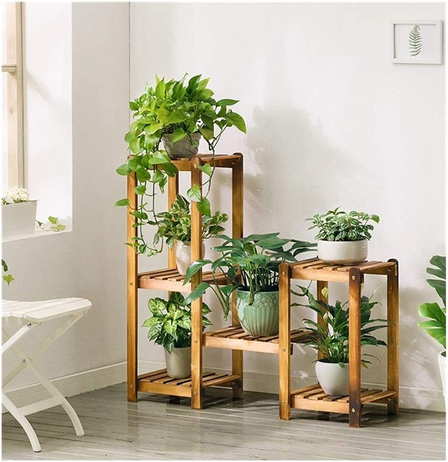 Plant Storage Rack Combination Flower Stand, Wooden Flower Display Stand, Indoor Flower Stand, Plant Ladder Stand, Indoor and Outdoor Home Decoration (Size   3 Tier+2 Tier)