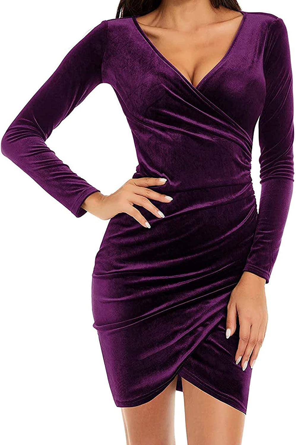 Womens Fashion Ruched Elegant Bodycon Dress Long Sleeve Wrap V Neck Cross Front Fitted Short Dresses
