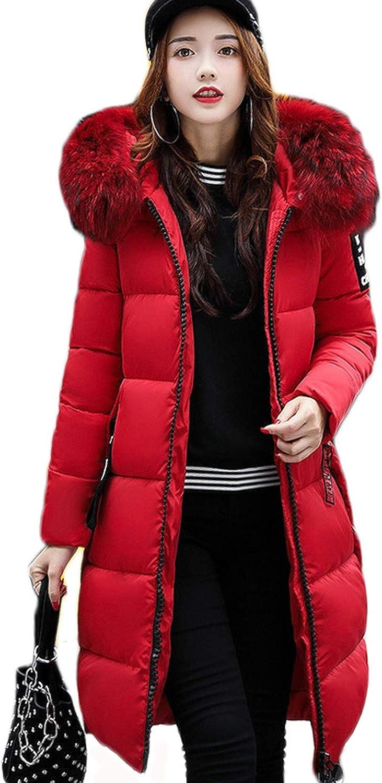Jifnhtrs Warm Fur Parkas Long Winter Jacket Women Thicken Slim Jacket Winter Women Hooded Coat,Red,M