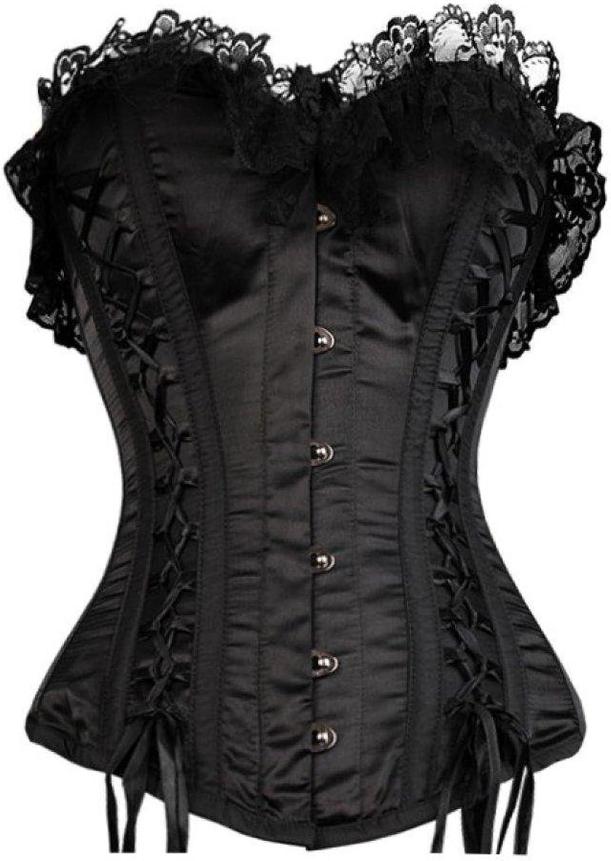 Black Satin Frills Net Gothic Burlesque Basque Waist Cincher Overbust Corset Top