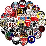 Trendy Classic Music Vinyl Stickers for Teens Adults Boys Girls|50 Pcs|Cool Waterproof Stickers for Water Bottle Laptop Computer Tablet Hydroflask Luggage Phone Bicyle Guitar,Funny Decals(Rock Music)
