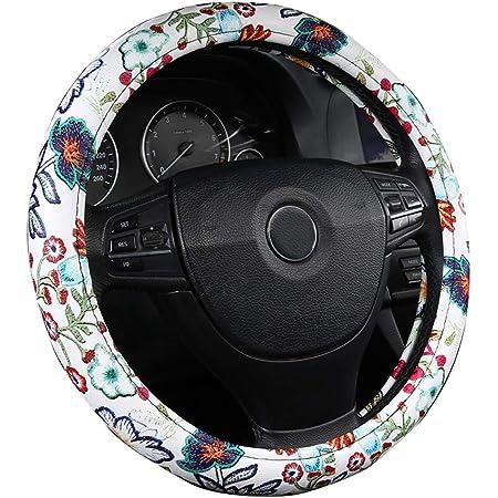 2018 Neue Gedruckte Nette Schöne Lenkradabdeckung Für Frauen Mädchen Geschenk Geburtstag Weiße Blume Auto