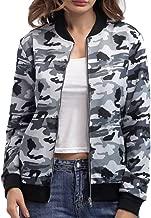 BOMBAX Women's Baseball Bomber Jacket Fall Flower Stripe Casual Short Outwear Coat