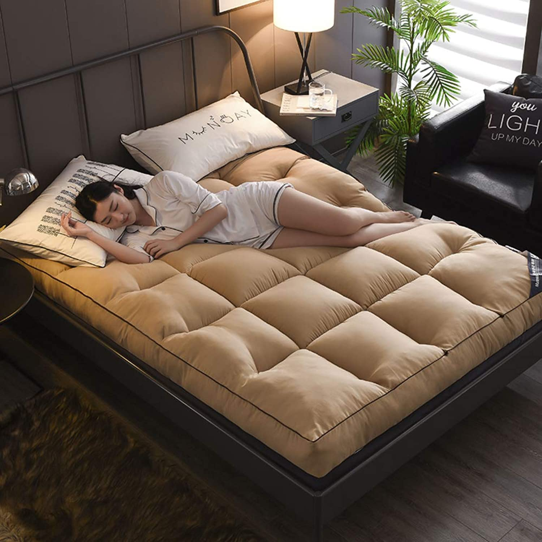 Feather Velvet Mattress Topper, Foldable Soft Thick Bed Mattress Twin Tatami Mattr-Light tan 150x200cm
