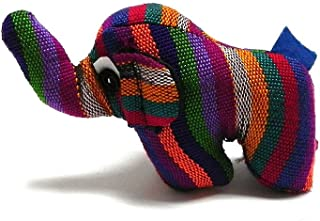 Mia Jewel Shop Elephant Mini Handcrafted Guatemalan Multicolored Woven Cotton Striped Pattern Button Eyed Stuffed Animal Toy Doll Kids Cultural Collectible