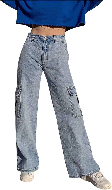 Fudule Y2K Fashion Jeans for Women, Teen Girls High Waist Denim Jeans Wide Leg Cargo Pants Vintage Big Pockets Trousers