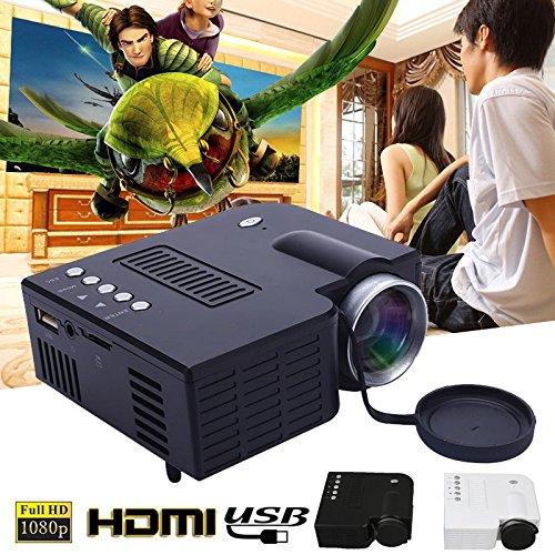 Hongfei (EU Stecker + schwarz) Mini Projektor, UC28B Portable Heimkino Multimedia LED Projektor Unterstützung USB TF Karte