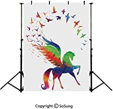 6x4Ft Vinyl Flying Birds Decor Backdrop for Photography,Pegasus Flying Wings of Birds in Rainbow Colors Inspiration Imagination Design Art Home Background Newborn Baby Photoshoot Portrait Studio Props