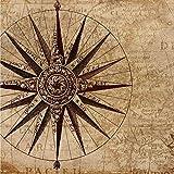 Envoltura de pan de cera vegana hecha a mano, diseño vintage de mapa náutico, 50 cm x 50 cm