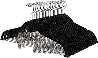 YJFFAn Hanger Wire with Clip Flocking Hanger Flocking Plastic Pants Rack Set Black