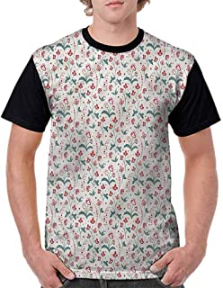 Unisex T-Shirt,Cup with Dots and Fruits Fashion Personality Customization