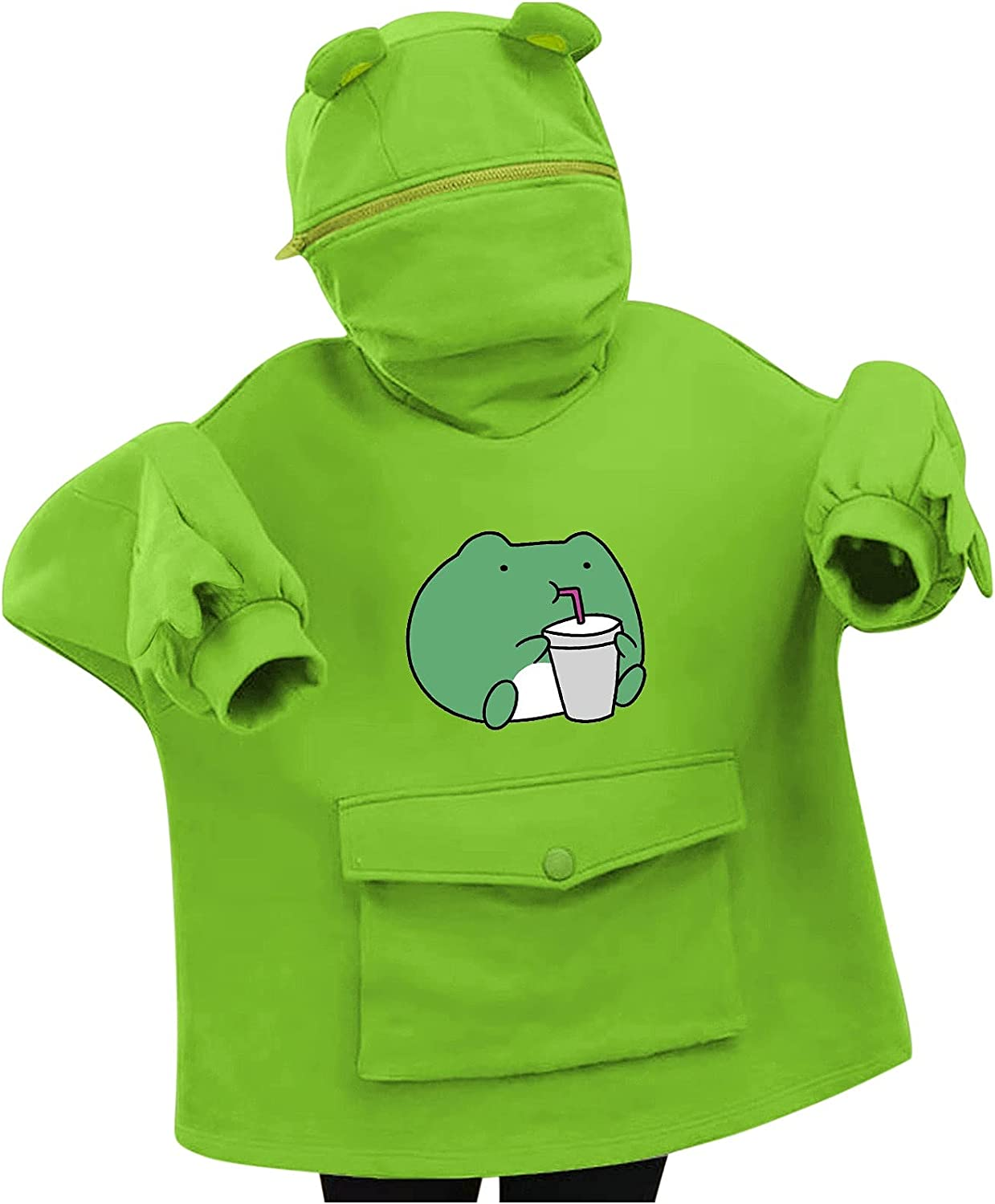ViYW Women's/Girl's Cute Frog Hoodie Pullover Zipper Mouth Hooded Sweatshirt with Large Front Pocket Sweatshirt Blouse