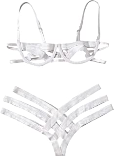 SheIn Women's Sexy Ladder Cut Out Lingerie Set Push Up Two Piece Bra and Panty