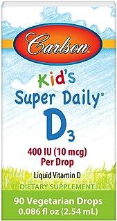 Carlson - Kid's Super Daily D3, Vitamin D Drops for Kids, 400 IU (10 mcg) per Drop, Heart & Immune Health, Vegetarian, Liq...