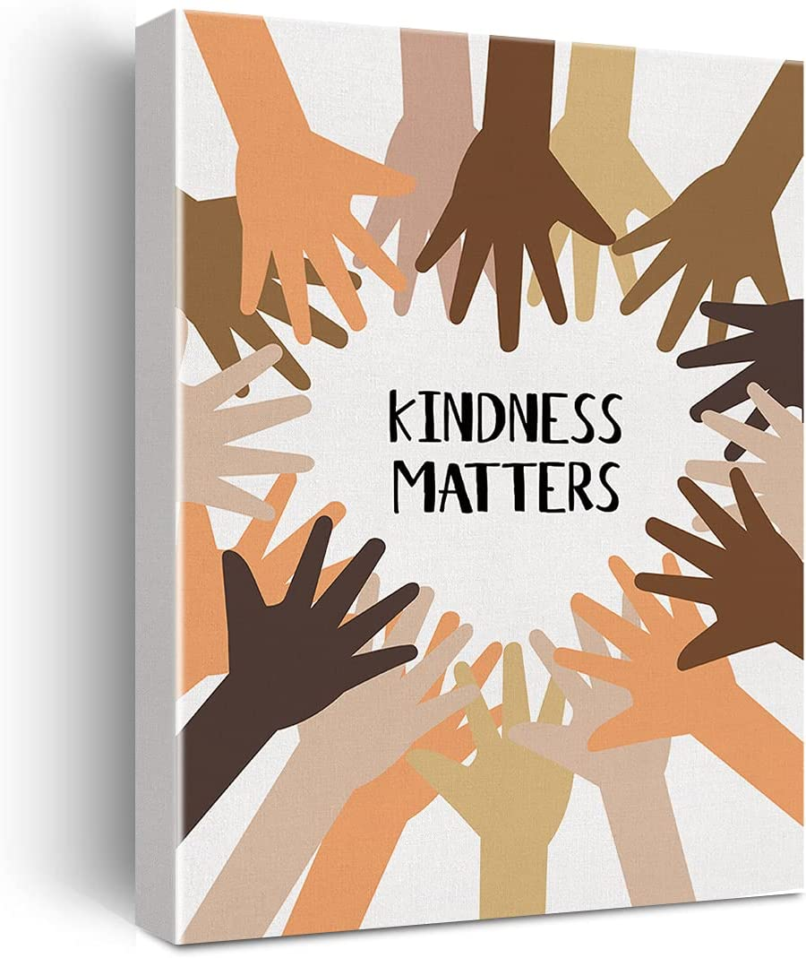 Kindness Matters Diversity Classroom Framed Canvas Wall Art, Positive Classroom Decor, Inclusion, Equality, Classroom Inclusion, 11.5