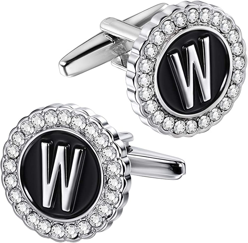 HAWSON A-Z Initial Cufflinks for Men and cheap Crysta Same day shipping with Women Clear