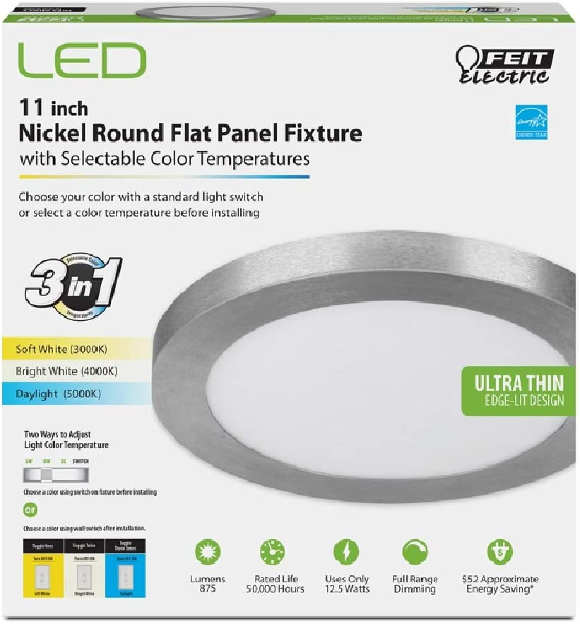 FEIT Electric LED 11 in. W Panel L Flat x Ligh Safety and trust Max 54% OFF Nickel