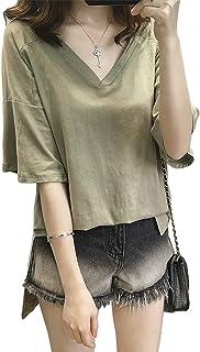 [SeBeliev(シービリーヴ)] 重ね着風 ゆったり Tシャツ 五分袖 Vネック ブラウス 良質素材 吸汗速乾 薄手 部屋着