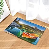 NVCBHk Forest Decor Boat at Lake Shore Wooden Pier Sunrise Bath Rugs Non-Slip Doormat Floor Entryways Indoor Front Door Mat Kids Bath Mat 15.7x23.6in Bathroom Accessories