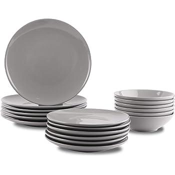 AmazonBasics 18-Piece Stoneware Dinnerware Set - Smokey Grey, Service for 6