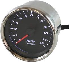 ライズコーポレーション バイク用タコメーター LEDバックライト機能付 12000RPM 電気式 60パイ ブラック T07Z9990001BK