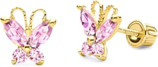 14k Yellow Gold Butterfly Stud Earrings with Screw Back - 4 Different Color Available