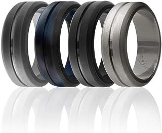 حلقه عروسی سیلیکون ROQ برای آقایان ، باندهای زیبا ، مقرون به صرفه 8 میلی متری سیلیکون ، تکی و 4 بسته ، لبه های با پوشش بالا - سیاه ، نقره ای فلزی ، خاکستری تیره