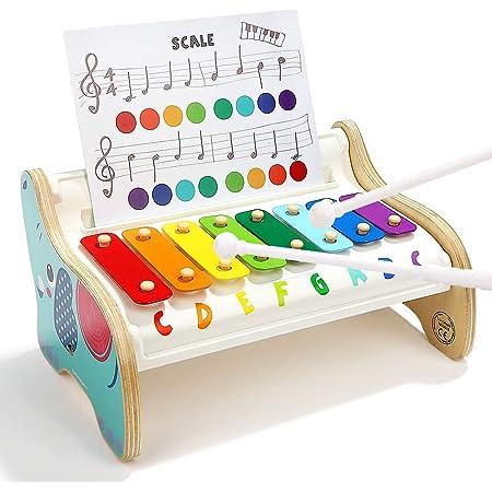 TOP BRIGHT Xilófono Infantil de Madera para Niños Pequeños - Instrumentos Musicales Infantiles – Juguete Bebes 1 año - 3 Canciones Diferentes - Teclas ...
