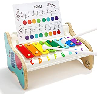 TOP BRIGHT Instrument de Musique pour Bébé – Xylophone pour Enfants à partir de 1 an – Pupitre à Musique en Bois – 3 diffé...