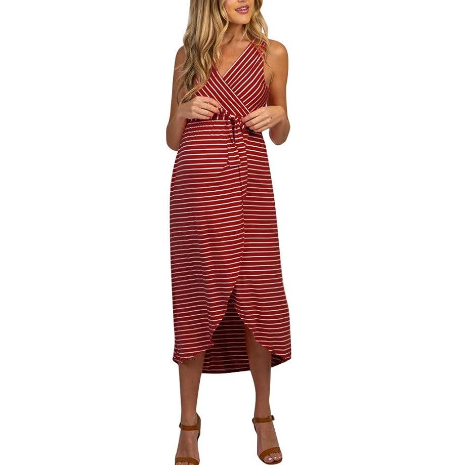 RIUDA Women Sleeveless Pregnancy Maternity Dress Stripe Summer Dress for Breastfeeding Long Dress Clothes