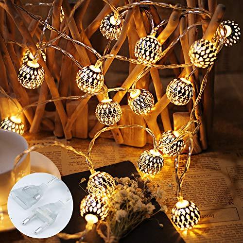 LED Lichterkette mit Marokkanischen Kugeln, Lichterkette innen mit Netzstecker 10Meter, 100 LEDs Warm Weiß, Kugeln Orientalisch, Deko Silber, Hochzeit, Geburtstag oder anderen Partys