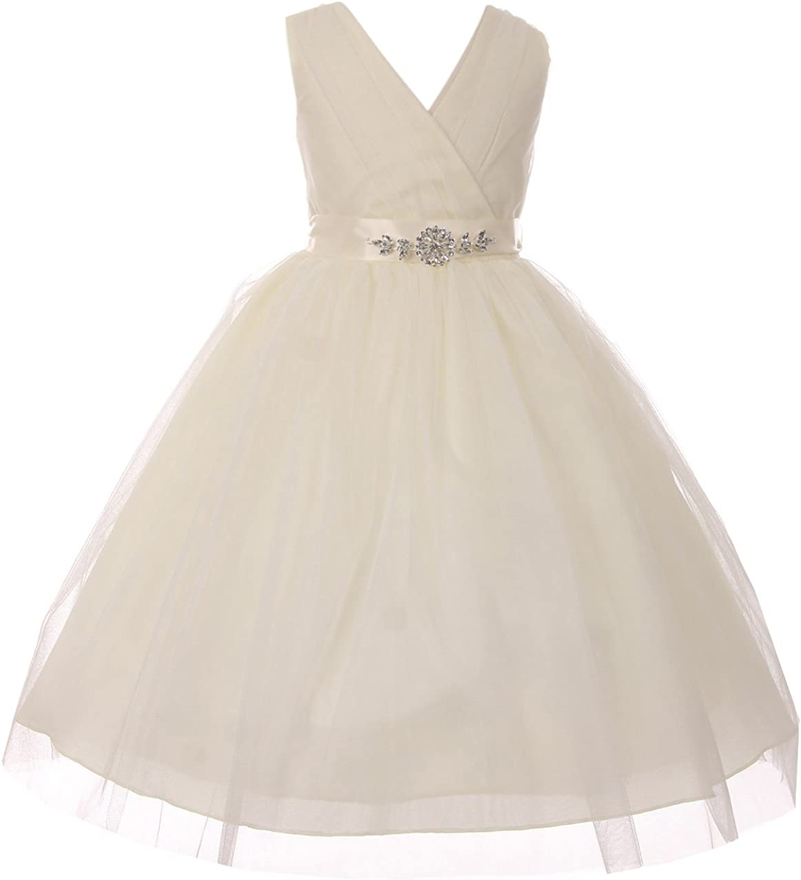 Max 49% OFF Little Girls V Neck Shiny Rhinestone Pageant ! Super beauty product restock quality top! Dazzling Tulle Flow