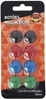 Botão Magnético Colorido 8 Unidades de 20mm Cada Jocar Office Leonora, Colorido