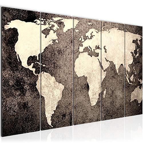 Bilder Weltkarte World Map Wandbild 200 x 80 cm Vlies - Leinwand Bild XXL Format Wandbilder Wohnzimmer Wohnung Deko Kunstdrucke Braun 5 Teilig - MADE IN GERMANY - Fertig zum Aufhängen 101755c