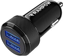 Rampow Caricabatterie Auto USB [ 24W/4.8A ] 2 Porte,Caricatore Auto USB, Caricabatteria Auto USB Universale Carica Batteria Compatibile con iPhoneX/8/7/6,iPad, Samsung S9/S8/S7, Huawei,Honor - Nero