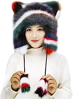 Cute Faux Fur Earmuff Winter Hats for Women Girls Thermal Fluffy Furry Ear Warmer Motorcycle Skiing Cap Costume Gift