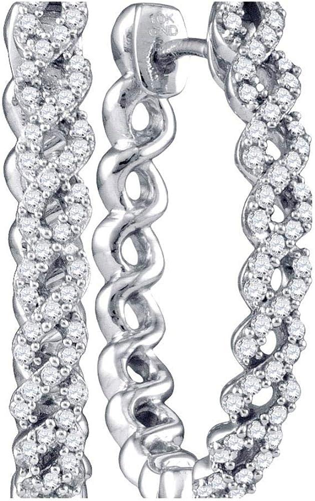 10kt White Gold Womens Round Diamond 2 Ctt Hoop Same day shipping 1 Earrings Popular overseas Woven