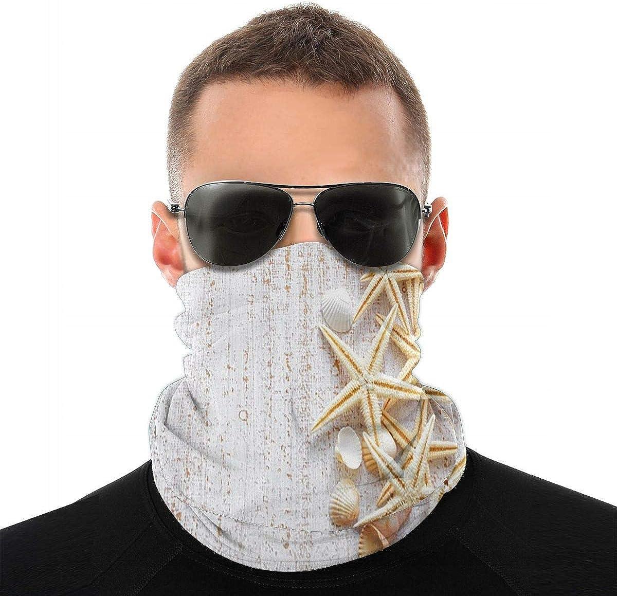 KiuLoam Stylish White Ocean Seashells Seamless Face Mask Bandanas Neck Gaiter for Men and Women, Multifunction Headband Scarf for Dust, Outdoors, Sports