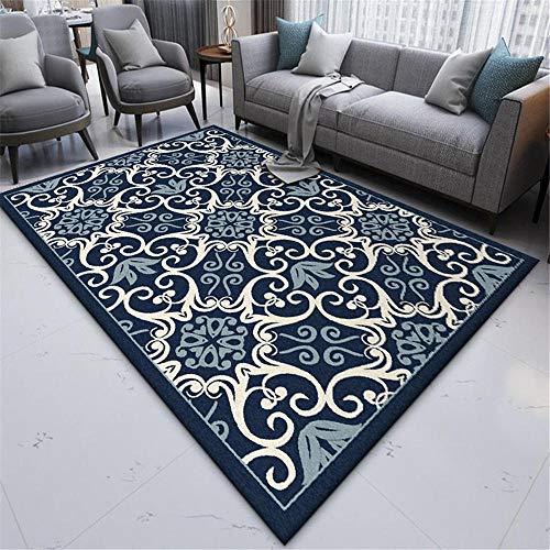 WQ-BBB Pflegeleicht Keine allergien Rug Dunkelblaue ethnische Dekoration Wohnzimmer Teppichboden grauweißes Muster langlebig Teppich draußen 160X230cm