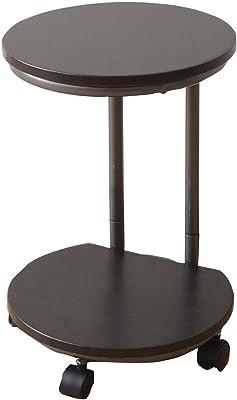 [山善] サイドテーブル 幅33×奥行33×高さ50cm 2段 2WAY仕様(ストッパー付きキャスター/固定式アジャスター) 組立品 ダークブラウン RST-30(MBR/MBR) 在宅勤務