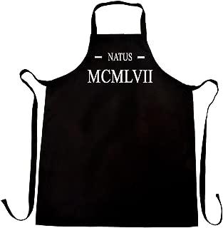 58th Birthday Apron, Natus MCMLVII (Born 1957 in Latin / Roman Numerals), by Bertie, free worldwide shipping