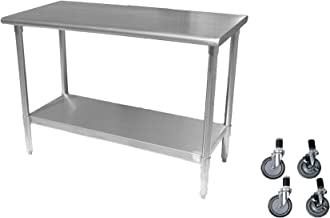 Work Prep Table 24 X 96 with Casters (Wheels) - Stainless Steel