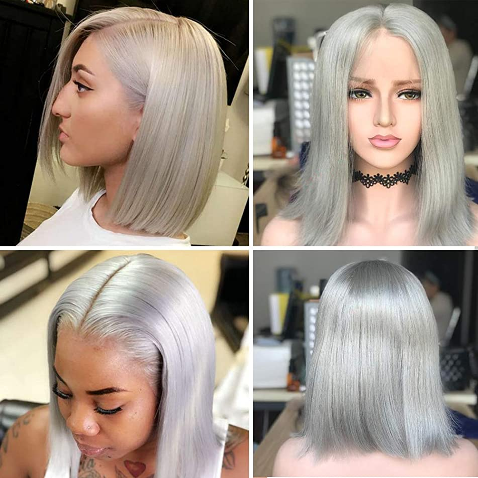 Human Hair Grey Bob Brazilian Glueless Wig 13x4 Lace Frontal Wigs Pre Plucked with Baby Hair Silk Straight 180% Density 8 Inches Short Bob lace Wigs for Black Women