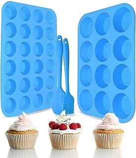 Silicone Muffin Pan Set – Regular 12 Cups and Mini 24 Cups Muffin Pan,Silicone Baking Molds for Muffins, Cupcakes,Food Gra...